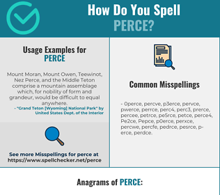 Correct spelling for Perce