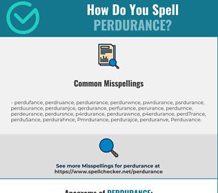 Correct spelling for Perdurance