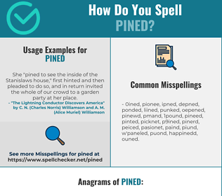 Correct spelling for Pined