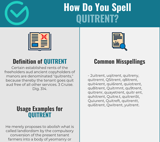 Correct spelling for Quitrent