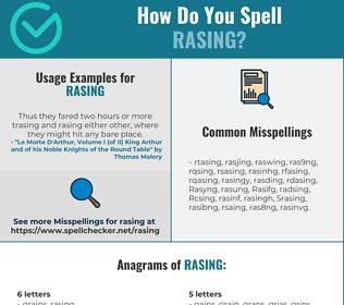 Correct spelling for Rasing