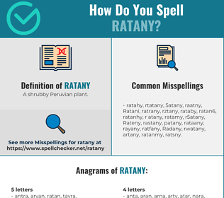 Correct spelling for Ratany