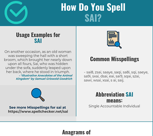 Correct spelling for Sai