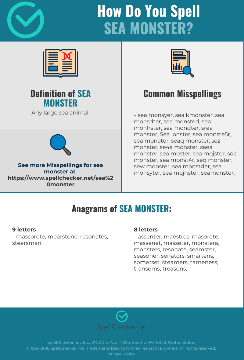 Correct spelling for Sea monster [Infographic