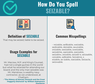 Correct spelling for Seizable