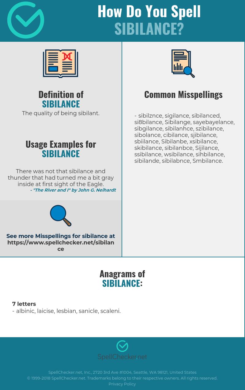 Correct spelling for Sibilance [Infographic] | Spellchecker.net