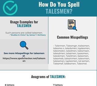 Correct spelling for Talesmen