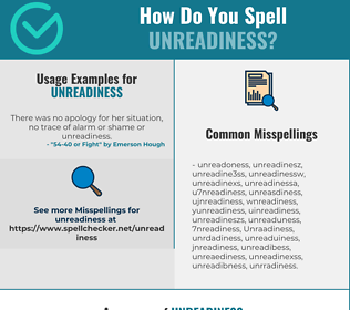 Correct spelling for Unreadiness