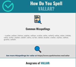 Correct spelling for Vallar