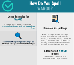 Correct spelling for Wango