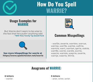 Correct spelling for Warrie