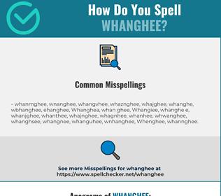 Correct spelling for Whanghee