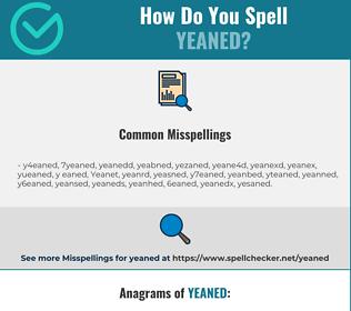 Correct spelling for Yeaned