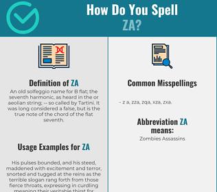Correct spelling for Za