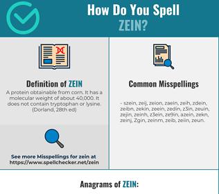 Correct spelling for Zein