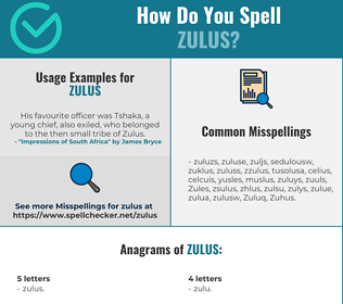 Correct spelling for Zulus