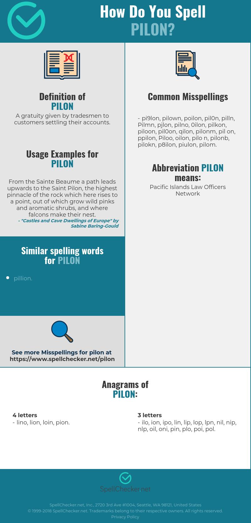 Wonderbaarlijk Correct spelling for Pilon [Infographic] | Spellchecker.net PB-76