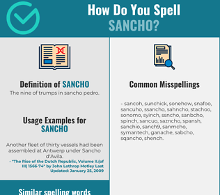 Correct spelling for Sancho
