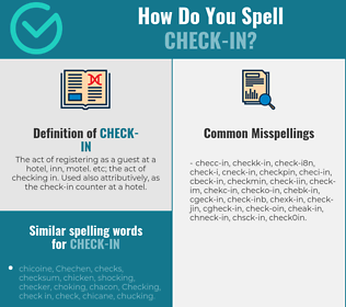 Correct spelling for check-in