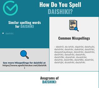 Correct spelling for daishiki