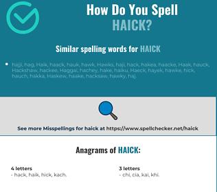 Correct spelling for haick