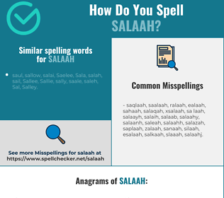 Correct spelling for salaah