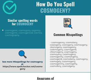 Correct spelling for cosmogeny