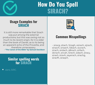 Correct spelling for Sirach