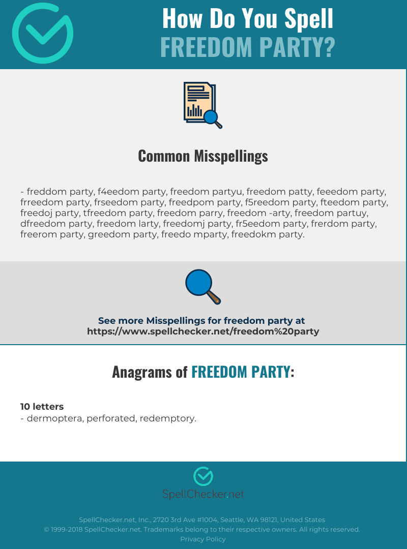 Correct spelling for Freedom Party [Infographic