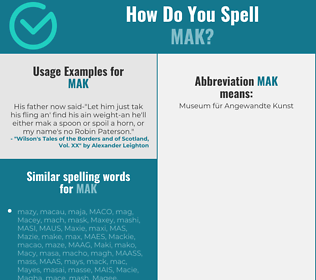 Correct spelling for MAK
