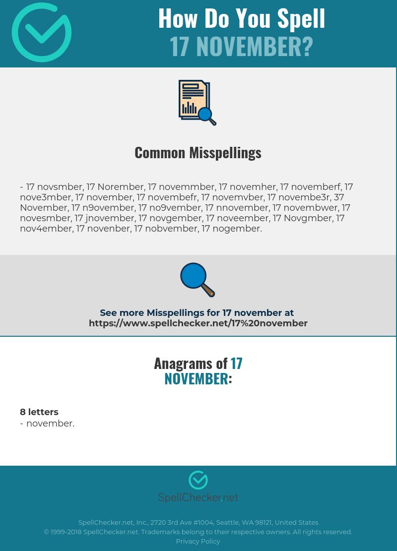 Correct spelling for 17 November [Infographic
