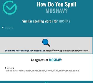 Correct spelling for moshav