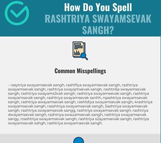 Correct spelling for Rashtriya Swayamsevak Sangh