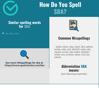 Correct spelling for SBA