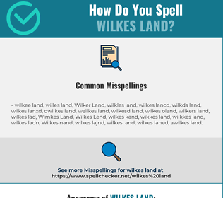 Correct spelling for Wilkes Land