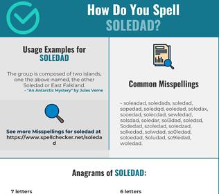 Correct spelling for Soledad
