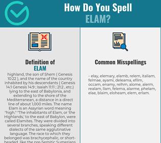 Correct spelling for Elam