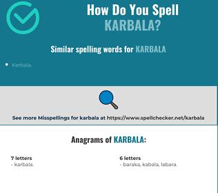 Correct spelling for Karbala