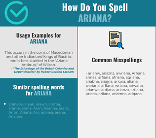 Correct spelling for Ariana