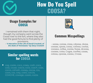 Correct spelling for Coosa