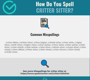 Correct spelling for critter sitter