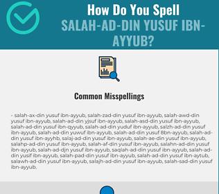 Correct spelling for Salah-ad-Din Yusuf ibn-Ayyub