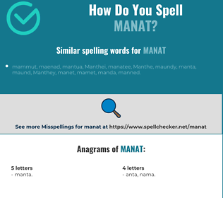 Correct spelling for manat