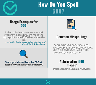 Correct spelling for 500