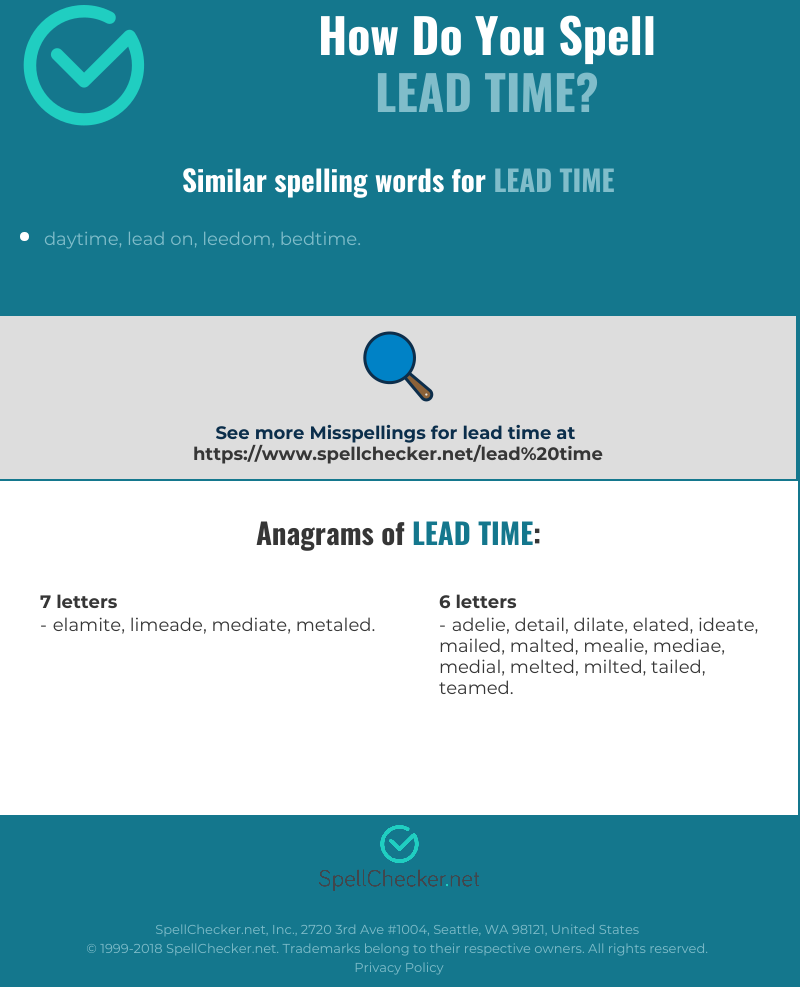 Correct spelling for lead time [Infographic] | Spellchecker net
