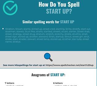 Correct spelling for start up