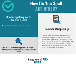 Correct spelling for air-dried