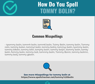 Correct spelling for Tommy Bolin