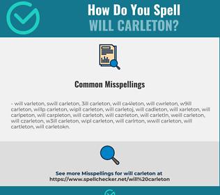 Correct spelling for Will Carleton