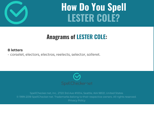 Correct spelling for Lester Cole
